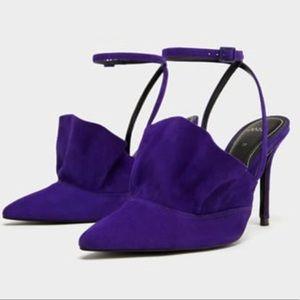 ZARA Purple Ruffled Heels